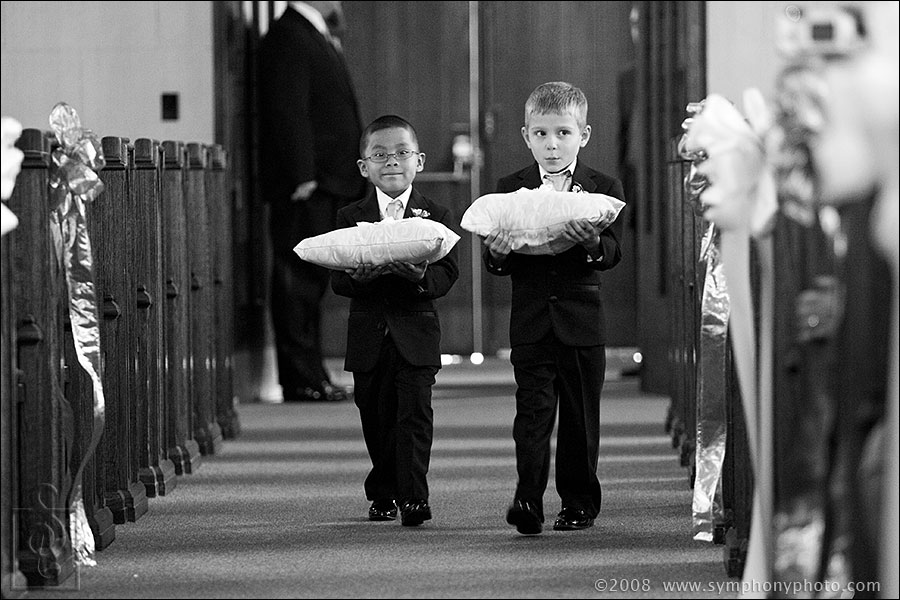 Ring bearers during the processional at Sacred Heart Parish in Concord, NH