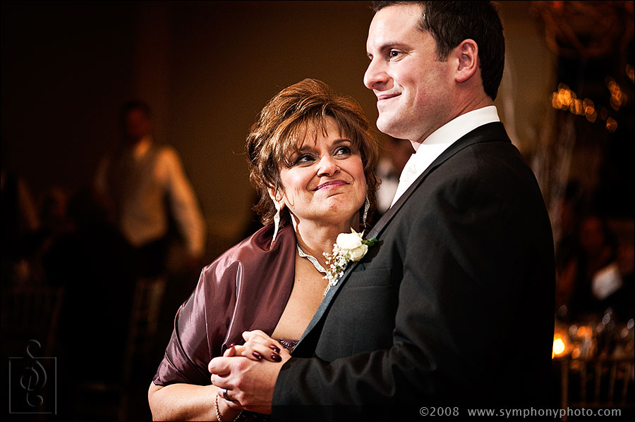 Mother and son dance at the Longshore Inn. Wedding photography by Symphony Photography based out of Boston, MA