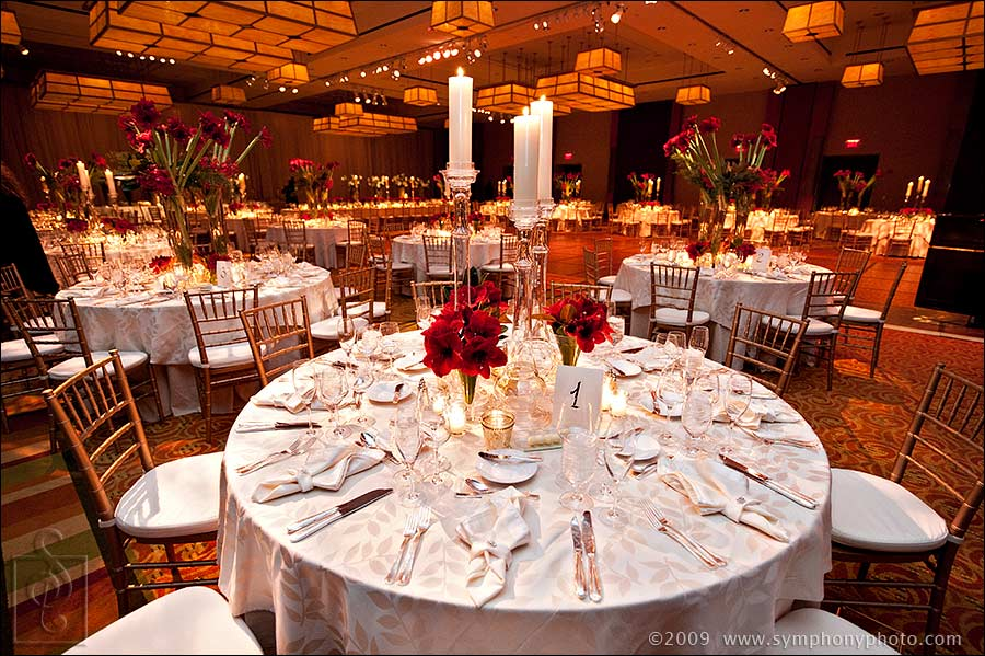 Table settings wedding reception details at Intercontinental Hotel in