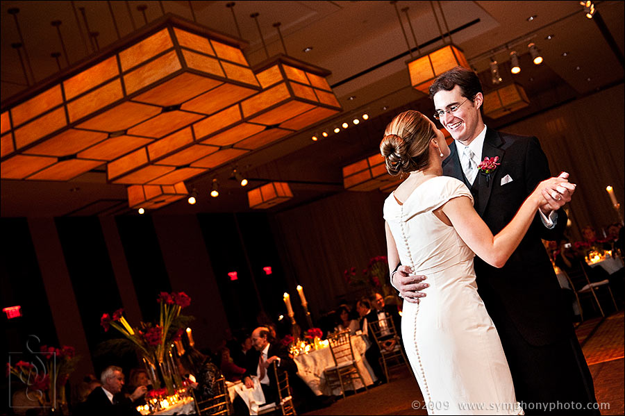 Bride and groom have their first dance at the Intercontinental Hotel in Boston, MA
