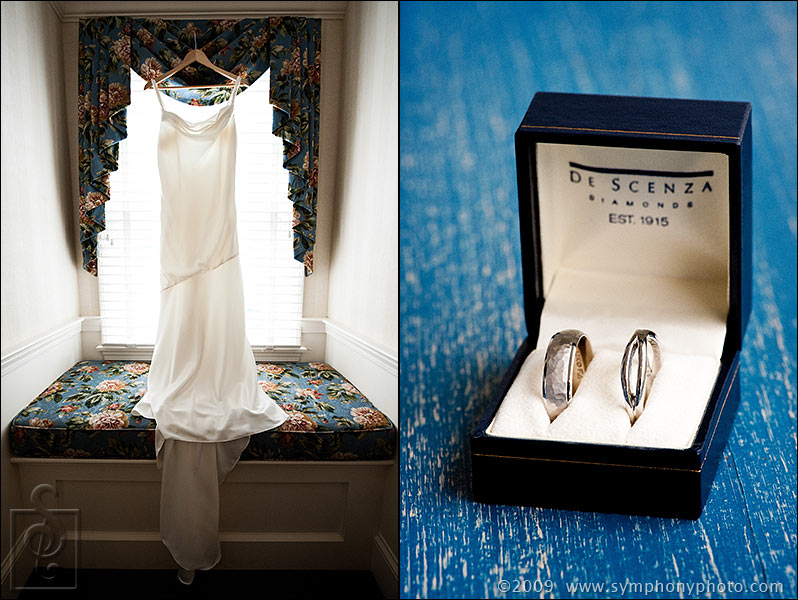 Wedding dress and rings, details from getting ready at the Chatham Wayside Inn, Chatham, MA