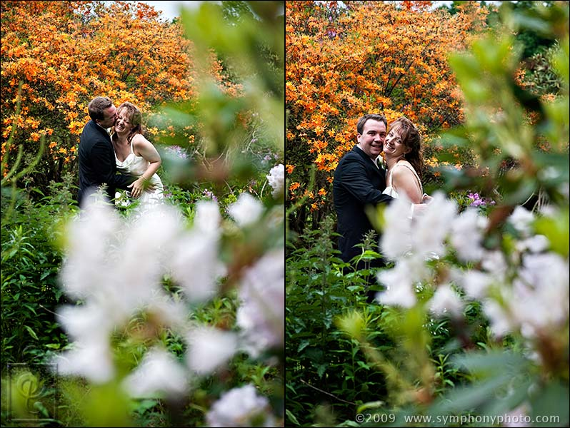 Bride and groom in the flower gardens at the Lyman Estate