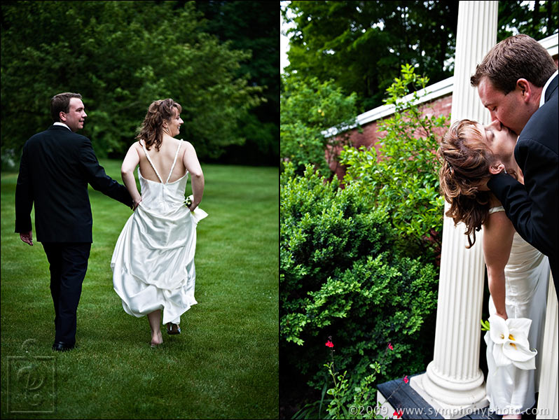 Bride and groom take a walk on the grounds at the Lyman Estate - Waltham, MA