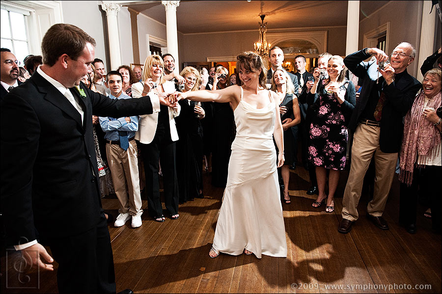 Bride and groom have their first dance at the Lyman Estate in Waltham, MA