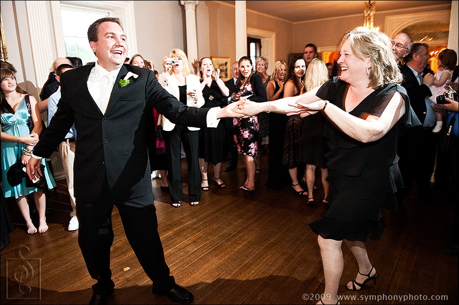 Mother and son dance at groom's wedding at the Lyman Estate in Waltham, MA