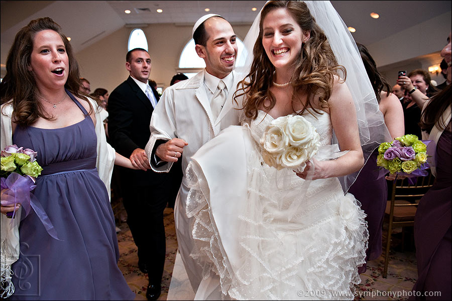 Bride and Groom, wedding recessional at Granite Links Golf Club - Quincy, MA