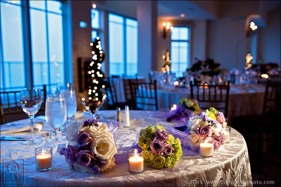 Reception details and table settings at the Granite Links Golf Club in Quincy, MA