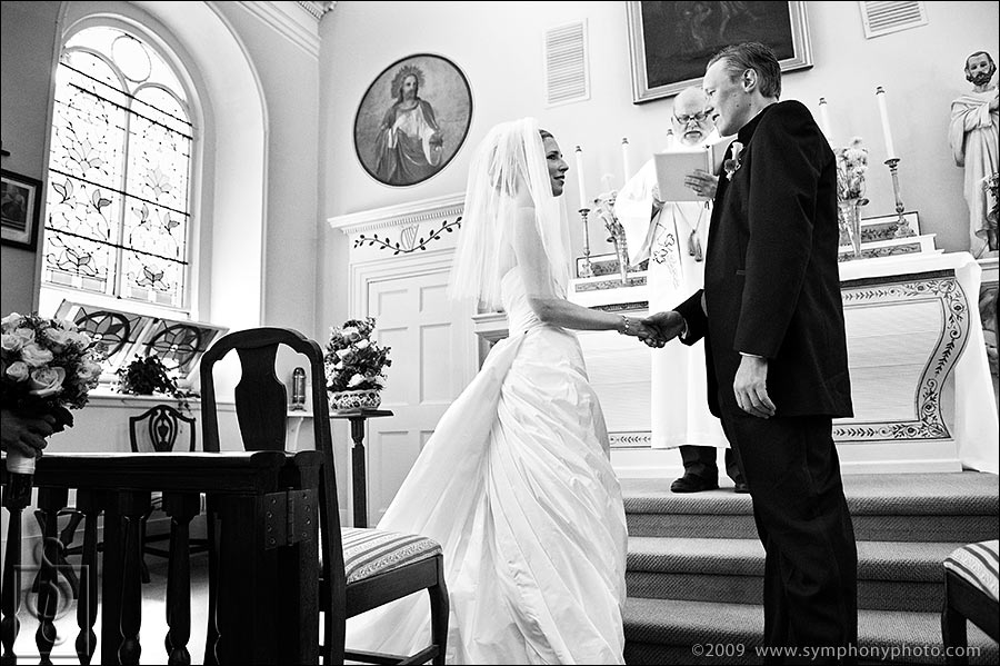 Wedding ceremony at St. Patricks in Newcastle, Maine