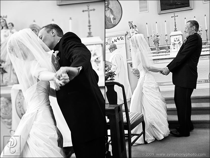 Bride and groom first kiss - Newcastle Maine Wedding