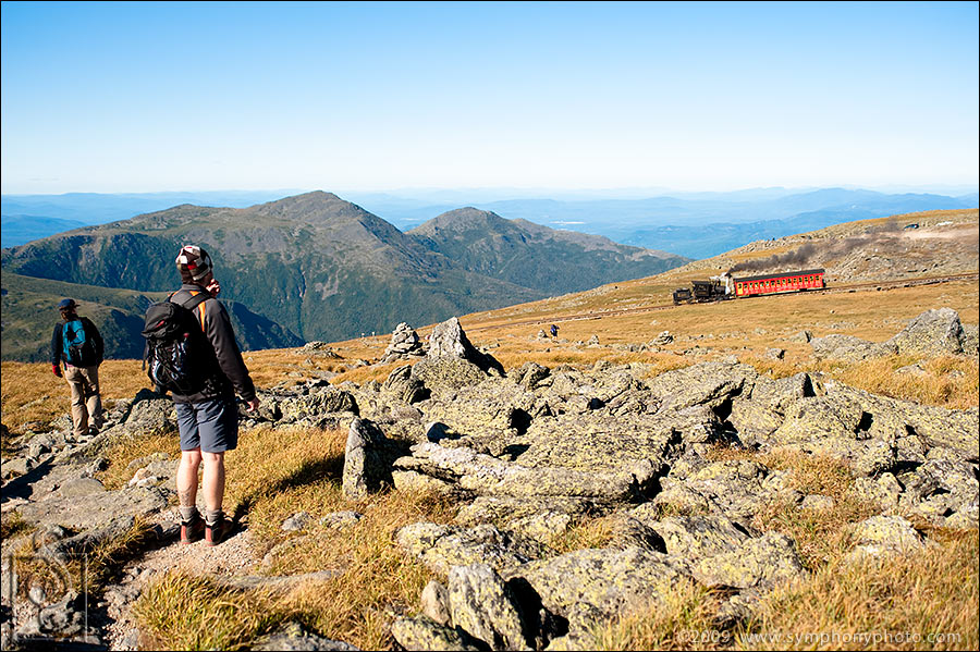 Cog Railway descends Mt. Washington in New Hampshire