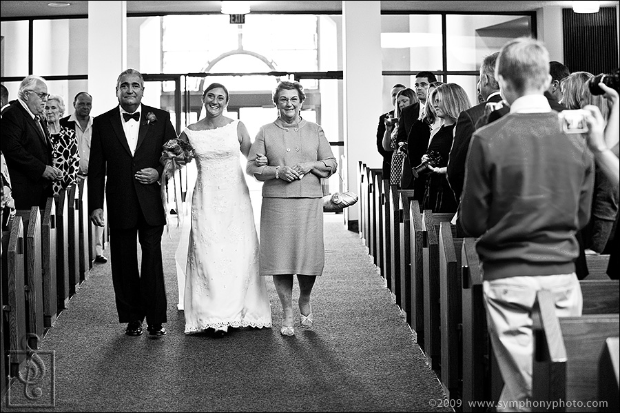Bride walking down aisle at St. Aloysius Church in New Canaan CT