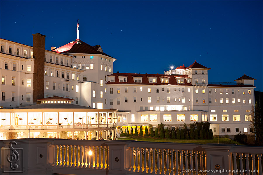 East side of the Mount Washington Hotel and Resort at night